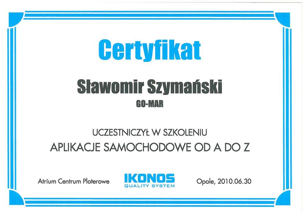 Certyfikat Gomar