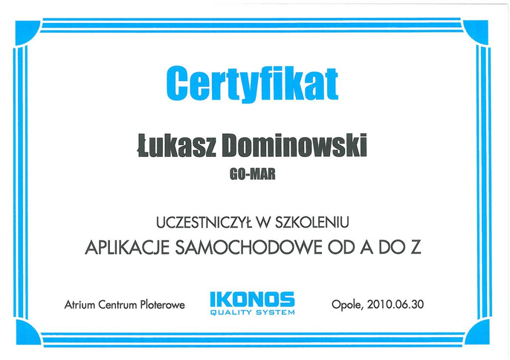 Certyfikat ze szkolenia Gomar
