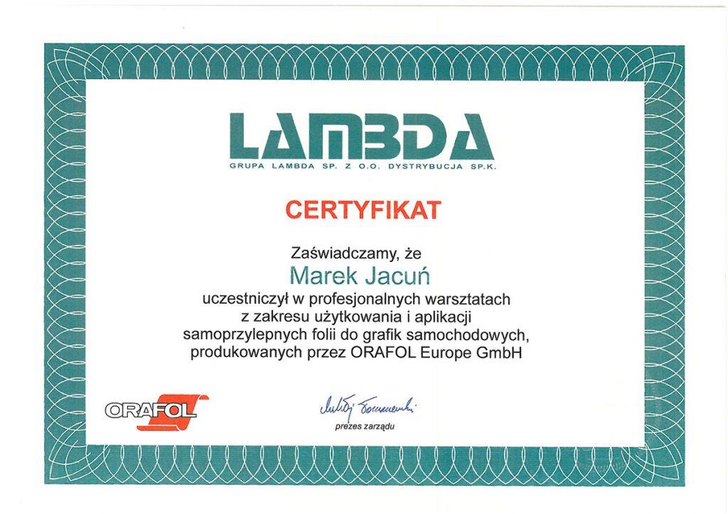 certyfikat uczestnictwa gomar