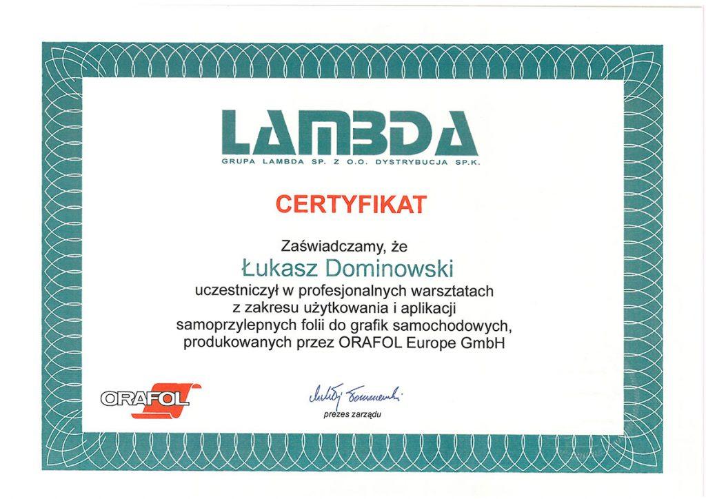 Certyfikat Lamda dla Gomar