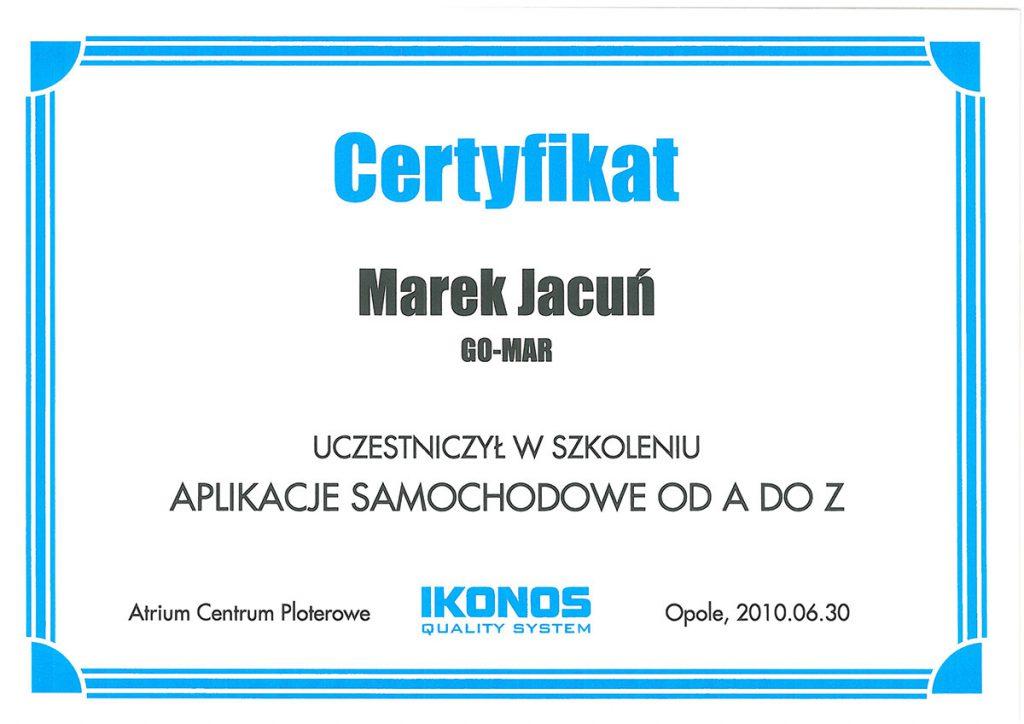 Certyfikat dla Gomar