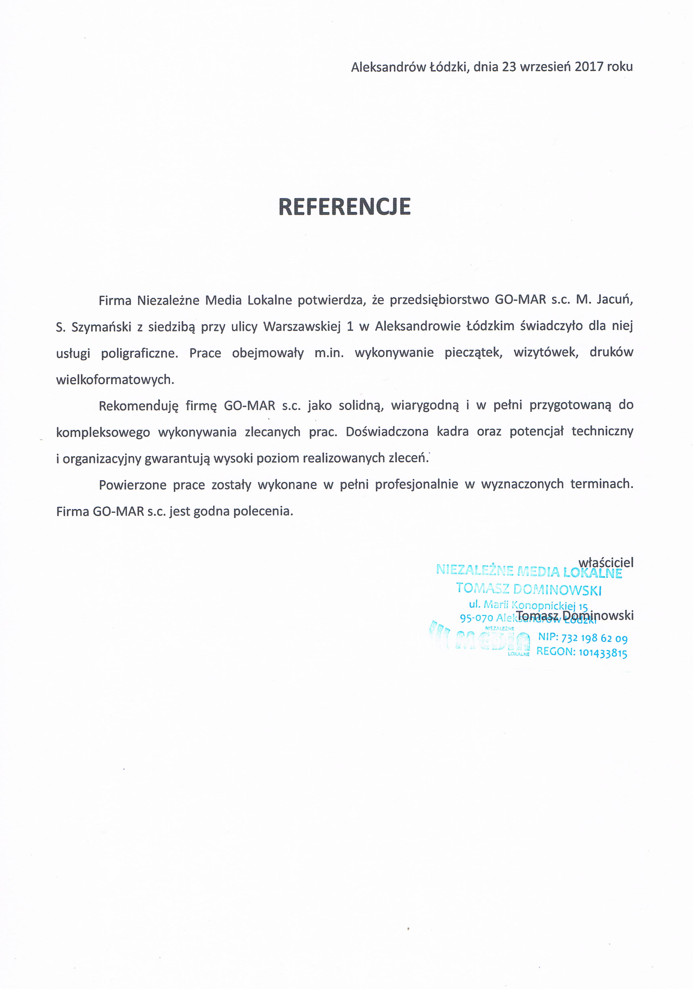 referencje dla Gomar